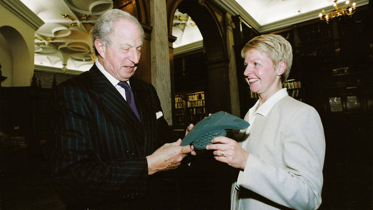 Helen roberts with Lord woolf in 1999